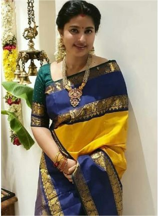 Sheer Yellow Bollywood Saree With Silk Weave Details