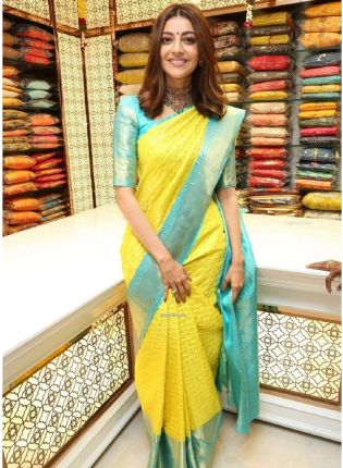 Tinted Yellow Bollywood Saree With Silk Weave Finish