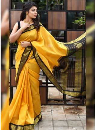 Bright Yellow Bollywood Saree With Silk Weave Finish
