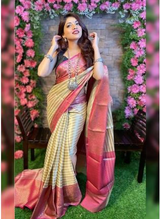 Neutral Beige Bollywood Saree With Silk Weave Finish