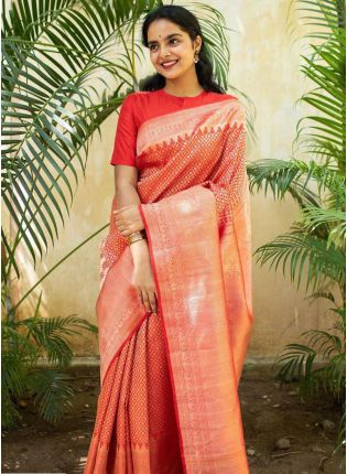 Classy Red Color Kanchipuram Silk Wave Bollywood Saree