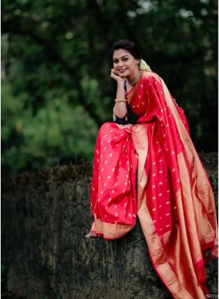 Eye-captivating Red Color Jacquard Silk Base Saree With Blue Color Silk Blouse