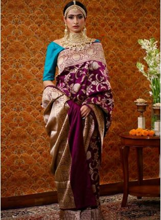 Magenta Purple Silk Waving Silk Festive Saree