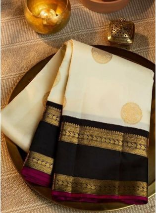 Ivory Silk Waving Festive Silk Saree
