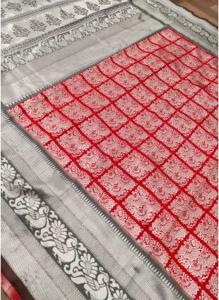 Rich Red Color Kanchipuram Silk Weave Base Saree With Zari Border Work