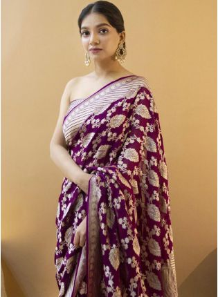 Wine Silk Saree with Silk Waving Work
