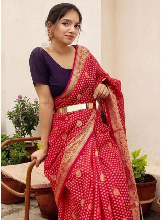 Flaming Red Silk Waving Festive Silk Saree