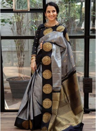 Modest Grey Silk With Silk Weaving Festive Saree