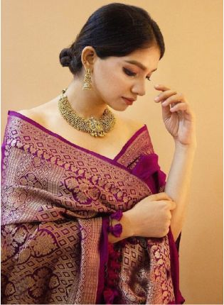 Bollywood Look Purple Silk Base Saree