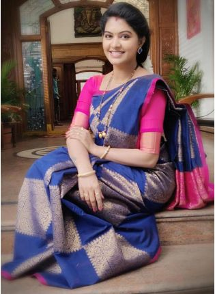 Royal Blue Silk Saree with Silk Waving Work