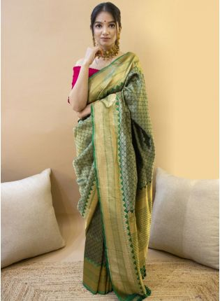 Emerald Green Festive Silk Saree with Silk Waving