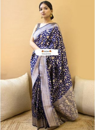 Deep Royal Blue Silk Waving Silk Festive Saree