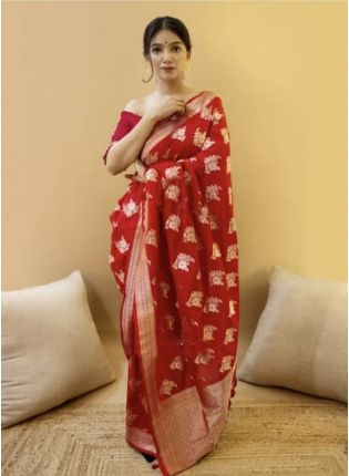 Eye-Catching Red Color Jacquard Silk Base Bollywood Look Saree