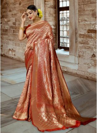 Red Color Kanjivaram Silk Base Bollywood Saree With Plain Blouse