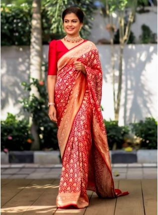 Glitzy Red Color Kanchipuram Silk Base Saree With Matching Color Blouse