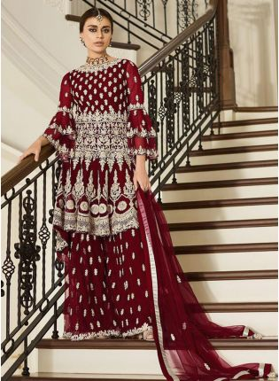 Wonderful Maroon Colored Soft Net Intricately Designed Palazzo Suit