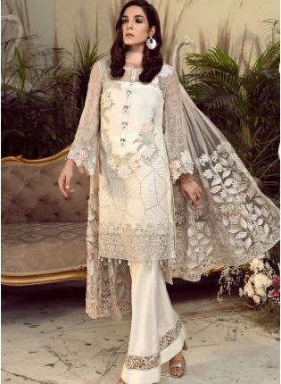 Trendy Off-White Georgetta Salwar Kameez