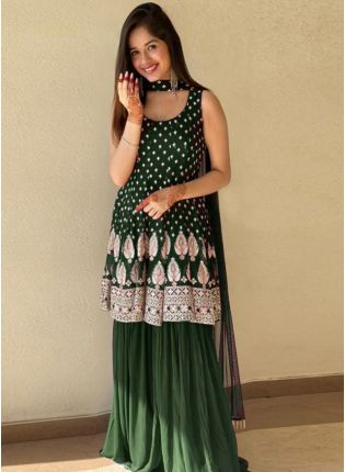 Bollywood Style Green Color Georgette Base Sharara Suit With Dupatta Set
