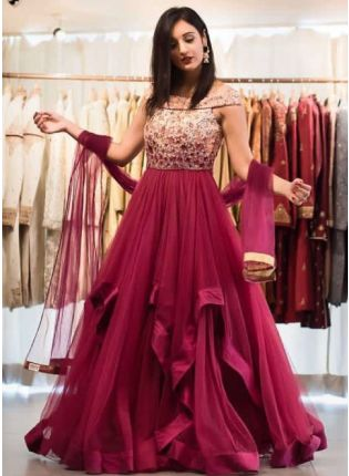 Fairy Look Maroon Color Designer Gown
