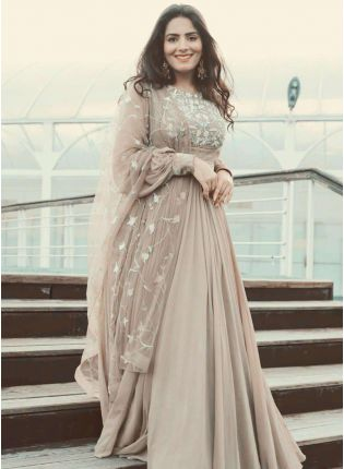 Designer Beige Color Online Buy Party Wear Gown
