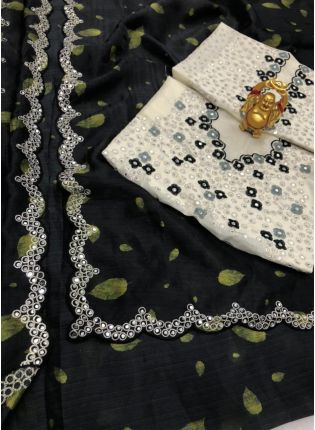 Elegant Black Color Organza Base Saree With Embroidery Work With Contrast Blouse