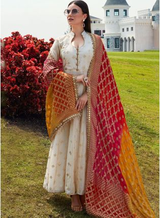 Beige Color Wedding Wear Designer Chanderi Silk Base Salwar Kameez Suit