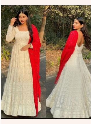 White Color Resam Work Designer Gown