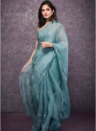Dashing Steel Blue Ceremonial Wear Digital Printed Organza Saree
