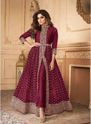 Trendy Wine Slit Cut Georgette Anarkali Suit