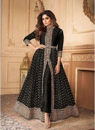 Elegant Black Slit Cut Georgette Anarkali Suit