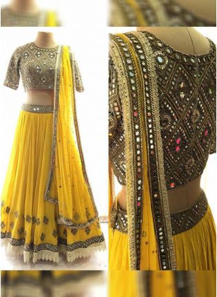 Stunning Yellow Color Georgette Base Wedding Wear Lehenga Choli