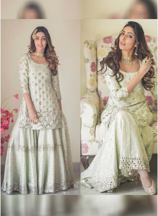 Light Pista Green Color Designer Wedding Wear Silk Base Sharara Suit