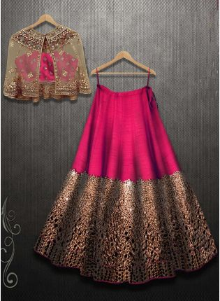 Rani Pink Color Mirror Work Designer Party Wear Lehenga Choli