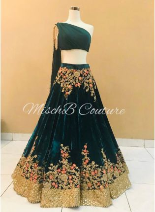 Dark Green Color Designer Velvet Base Embroidered Lehenga Choli