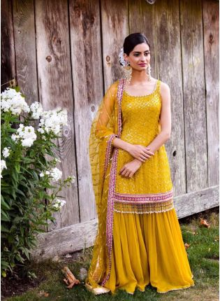 Mustard Yellow Color Party Wear Georgette Base Sharara Suit
