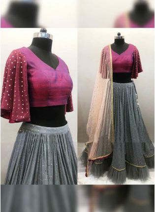 Sparkling Pigeon Grey Soft Net Flared Sangeet Special Lehenga Choli