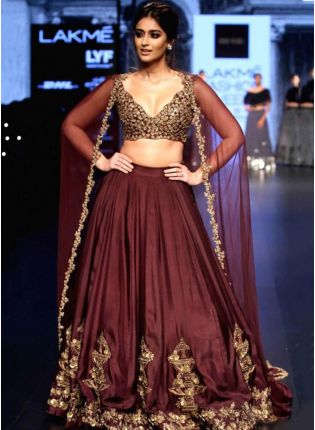 Stunning Deep Wine Taffeta Silk Sequin And Zari Work Lehenga Choli