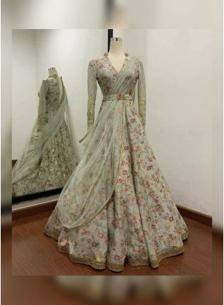 Grey Floral Full-Sleeve Silk Wedding Lehenga Choli