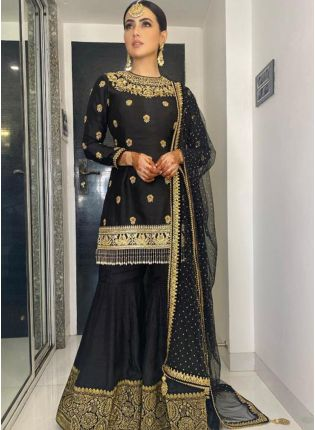 Festive Black Colour Silk with Stone and Mirror Work Sharara Suit