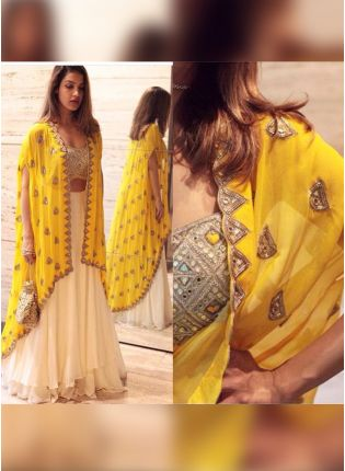 Lemon Yellow Color Party Wear Jacket Style Lehenga Choli