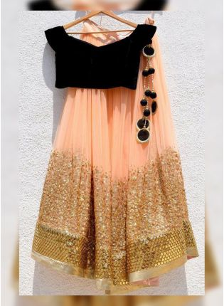 Stylish Peach Georgette Base Party Wear Lehenga