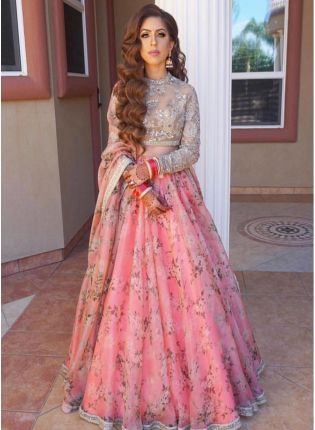 Party Wear Pink Color Designer Floral Printed Lehenga Choli