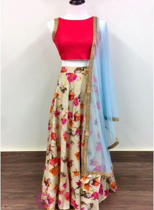 Off White Color Designer Party Wear Floral Printed Lehenga Choli