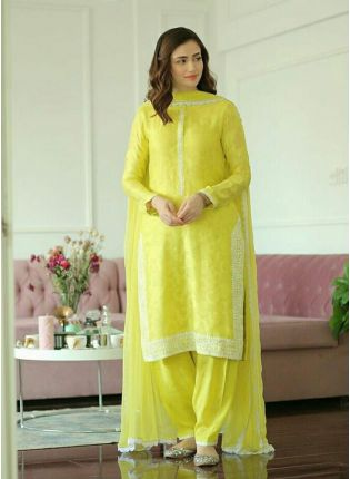 Thrilling Lime Yellow Chanderi Cotton Festive Wear Pant Style Suit