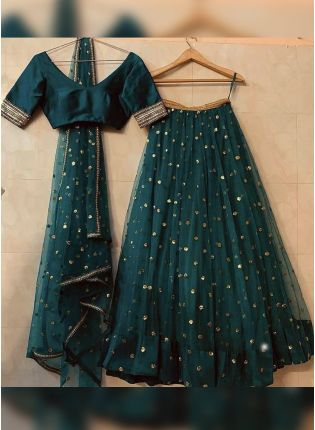 Sea Green Soft Net and Sequins Lehenga Choli