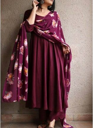 Enchanting Wine Georgette Digital Print Palazzo Salwar Suit