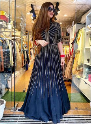 Navy Blue Color Sequins And Heavy Embroidery Work Bollywood Look Gown