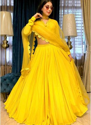 Sunshine Yellow Color Georgette Base Flared Lehenga Choli