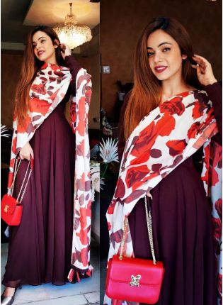 Ravishing Maroon Color Georgette Base Designer Look Gown With Dupatta