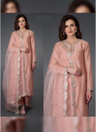 High-Class Peach Colored Foil Printed Palazzo Salwar Suit